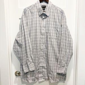 Haggar 2X Check Plaid Button Down Dress Shirt